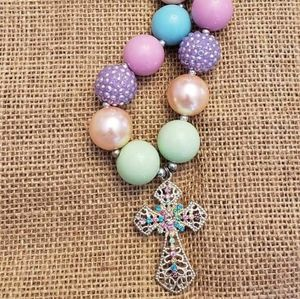 Cross Easter chunky necklace bubblegum new pastel